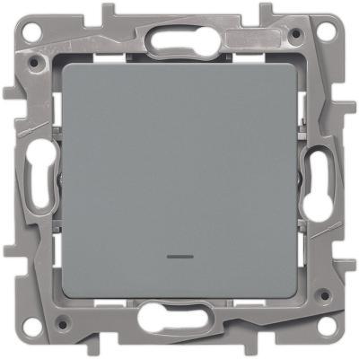 Выключатель одноклавишный с подсветкой/индикацией, автоматические клеммы, Etika, 10AX, 250В~, алюминий