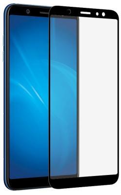 Закаленное стекло с цветной рамкой (fullscreen + fullglue) для Samsung Galaxy A6 Plus (2018) DF sColor-40 (black) закаленное стекло 3d с цветной рамкой fullscreen для samsung galaxy s9 plus df scolor 35 black