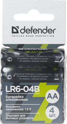 Фото - Батарейки Defender LR6-04B AA 4 шт 56028 батарейки defender aa r6 10b 10 шт в блистере 56020