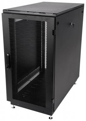 Шкаф телекоммуникационный напольный 27U (600x1000) дверь перфорированная 2 шт., цвет чёрный