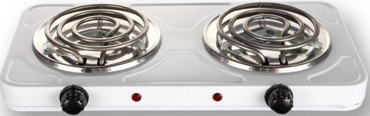 Плитка электрическая GINZZU HC-T221, белая, 1000+1000Вт, механическое управление, 2 конфорки спиралевидные плитка электрическая ginzzu hc t220 белая 1000вт 1000вт механическое управление 2 конфорки 150мм
