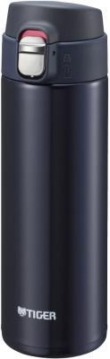 Термокружка Tiger MMJ-A048 Blue Black 0,48 л (цвет иссиня-черный, откидная крышка на кнопке, нержавеющая сталь)