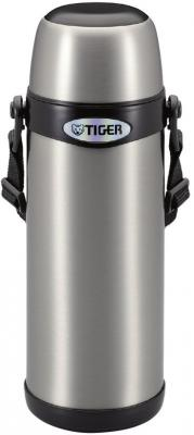 Термос классический Tiger MBI-A100 Clear Stainless, 1,0 л (нержавеющая сталь, цвет серебристый с черным, горловина 4,5см, крышка-кружка, регулируемый термос универсальный tiger mhk a150 xc 1 49 л нержавеющая сталь цвет серебристый горловина 7см крышка кружка пиала складные пластиковые ручки