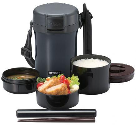 Термос для еды с контейнерами Tiger LWU-A171 Charcoal Gray (цвет угольно серый, в комплекте контейнеры 0,61л, 0,34л, 0,27л, палочки для еды в чехле, р