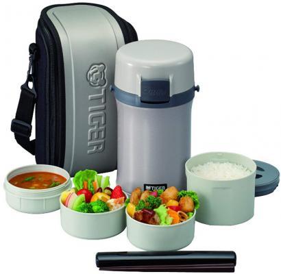 Термос для еды с контейнерами Tiger LWU-F200 Warm Silver (цвет серебряный, в комплекте контейнеры 0,61л, 2x0,3л, 0,27л, жесткий чехол с регулируемым н