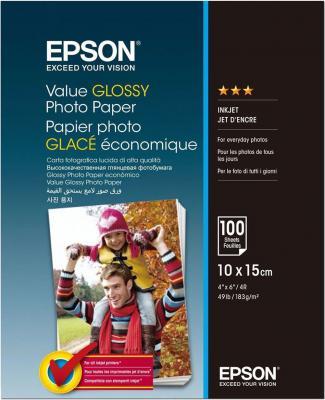 Фотобумага Epson Value Glossy Photo Paper 10x15cm (100 листов) (183 г/м2) фотобумага epson a4 matte paper heavyweigh 167 г м2 50 л c13s041256