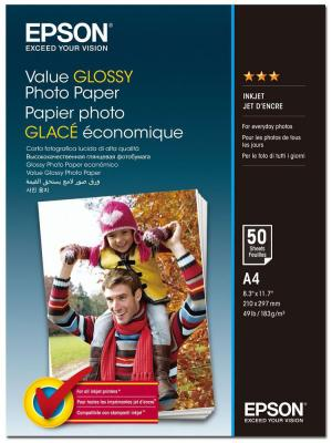 Фотобумага Epson Value Glossy Photo Paper A4 (50 листов) (183 г/м2) бумага для принтера epson a4 premium glossy photo paper 50 sheets
