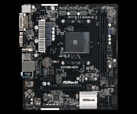 Материнская плата ASRock X370M-HDV Socket AM4 AMD X370 2xDDR4 1xPCI-E 16x 1xPCI-E 1x 4 mATX Retail