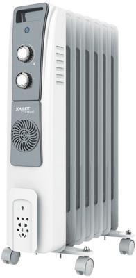 Масляный радиатор Scarlett SC 51.1907 S5 1900 Вт термостат обогрев колеса для перемещения белый серый термовентилятор scarlett sc fh53016 2000 вт ручка для переноски вентилятор термостат белый