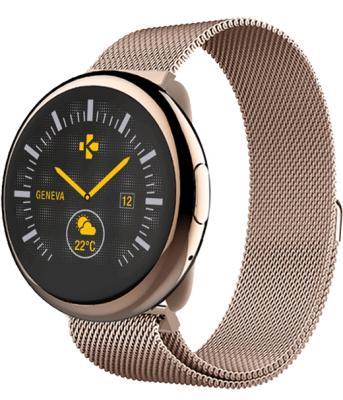 Смарт часы MyKronoz ZeRound2HR Elite цвет розовое золото, миланский сетчатый браслет цвет розовое золото