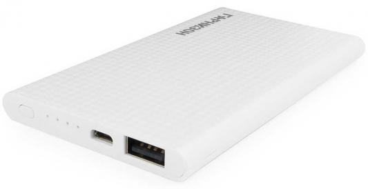 Гарнизон GPB-105W Портативный аккумулятор 5000 мА/ч, 1 USB, 1A, белый аккумулятор гарнизон 4000mah black gpb 104