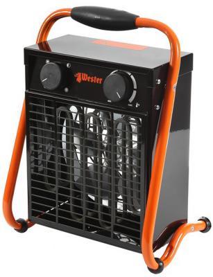 Тепловентилятор Wester TB-3/6 3000 Вт термостат ТЭН Вентиляция без нагрева обогрев ручка для переноски чёрный оранжевый цена