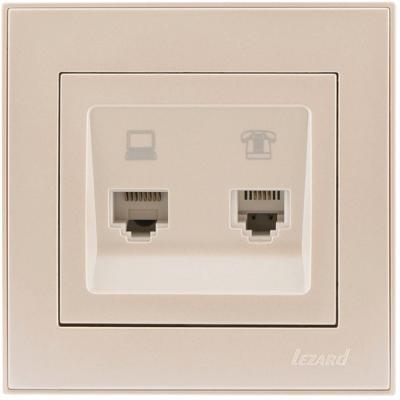 Розетка LEZARD 703-3030-143 серия скр.проводки Рейн компьютер+телефон жемчужно-белый