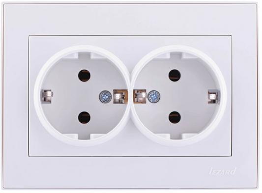 Розетка LEZARD 703-0202-127 серия скр.проводки Рейн двойная с/з керамика белый с белой вставкой