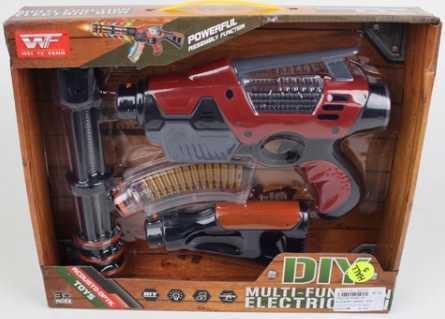 Купить Автомат Shantou Gepai 8180-28 красный серый B1701740, красный, серый, 6x29x35 см, для мальчика, Игрушечное оружие