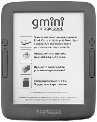 Электронная книга Gmini MagicBook A6LHD+ экран 6, E-Ink Carta HD (300PPI) с подсветкой + touch, 1448x1072, 8Gb, microSD, Чехол электронная книга pocketbook 641 6 e ink carta 1024x758 touch 1ghz 256mb 8gb защита от пыли и воды подсветка дисплея цвет лазурный