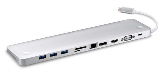 Концентратор Aten UH3234-AT внешн., 8 портов:3xUSB 3.1 Gen 1+HDMl+DP+VGA+RJ45+3.5mm jack, USB 3.1, питание от шины, некаскадируемый, (одиночное подкл.