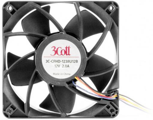 Вентилятор 3Cott 3C-CFHD-1238U12B, 120х120х38 мм, 12В, 2А, Возд. поток 210 CFM, 4200 об/мин, 57,5 дБ (А), 2 шарикоподшипник качения, коннектор 2510-4P возд