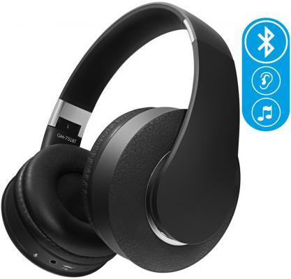 Наушники беспроводные GiNZZU GM-751BT, черные, наушники/гарнитура Bluetooth/microSD/FM-радио цена и фото