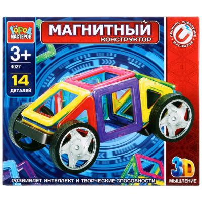 Купить Магнитный конструктор Город мастеров Машинка 14 элементов, Пластмассовые конструкторы