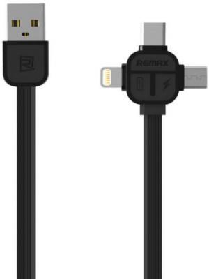 Кабель microUSB Lightning Type-C 1м Remax Lesu 3 in 1 круглый черный RC-066th 3 in 1 lightning adapter for calling charging music listening