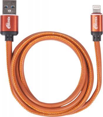 Кабель Lightning 1м Ritmix RCC-425 Leather круглый оранжевый кабель lightning 1м ritmix rcc 200 плоский синий