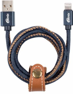 Кабель Lightning 1м Ritmix RCC-427 Blue Jeans круглый джинс кабель lightning 1м ritmix rcc 200 плоский синий