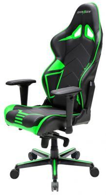 все цены на Игровое кресло DXRacer Racing чёрно-зелёное (OH/RV131/NE, кожа-PU, регулируемый угол наклона, механизм качания)