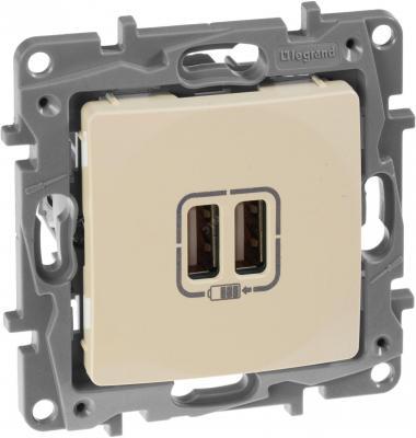 Legrand 672394 Зарядное устройство с двумя USB-разьемами 240В/5В 2400мА - Etika - слоновая кость