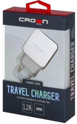 Фото - Сетевое зарядное устройство CROWN CMWC-3011 1.2A белый зарядное