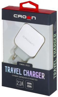 Сетевое зарядное устройство CROWN CMWC-3022 2.1A белый