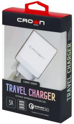 Сетевое зарядное устройство CROWN CMWC-3083F 3/2.4 A белый сетевое зарядное устройство crown cmwc 3061f qc 3 0 3a белое