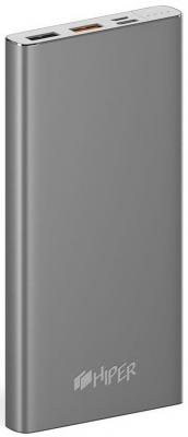Мобильный аккумулятор Hiper MPX10000 Li-Pol 10000mAh 3A+3A+1A серый 2xUSB аккумулятор aksberry k11 li pol 2xusb 10000mah white
