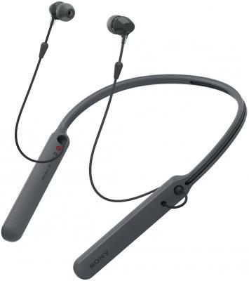Гарнитура вкладыши Sony WI-C400 черный беспроводные bluetooth (нашейный держатель)