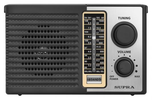 Радиоприемник портативный Supra ST-17 черный/серебристый радиоприемник supra st 125 черный