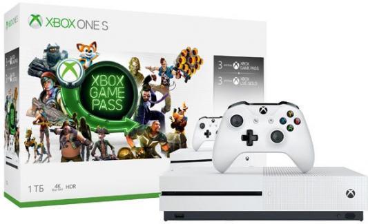 Игровая консоль Microsoft Xbox One S 234-00357 белый +1Tb, 3M Game Pass, 3M Xbox LIVE