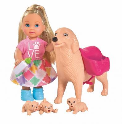Фото - Кукла Evi Еви с собачкой и щенками 12 см 5733072 кукла barbie и собака с новорожденными щенками 29 см fdd43