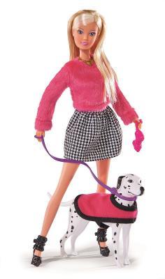 Купить Кукла Steffi Love на прогулке с долматинцем 29 см 5738053, пластик, текстиль, Куклы Steffi
