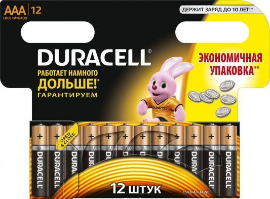 Батарейка Duracell LR03-12BL (MN 2400) LR 03/MN 2400 AAA 12 шт батарейка космос koclr034bl lr lr03 bp 4 цена за блистер 4шт
