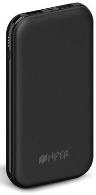 Мобильный аккумулятор Hiper PSX10000 Li-Pol 10000mAh 2A черный 2xUSB аккумулятор aksberry k11 li pol 2xusb 10000mah white
