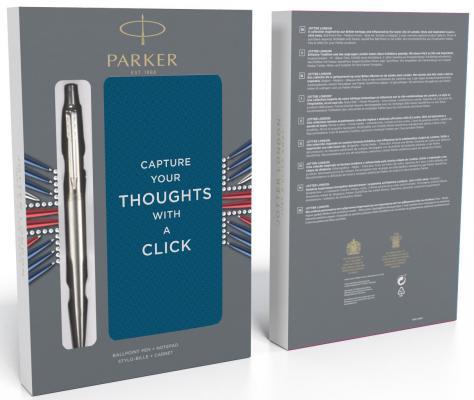Шариковая ручка автоматическая Parker Jotter Core K61 Stainless Steel CT синий M 2061287 + блокнот гелевая ручка автоматическая parker jotter core k694 stainless steel gt черный 0 7 мм 2020647
