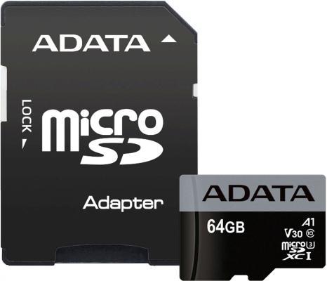 Карта памяти 64GB ADATA Premier Pro microSDXC UHS-I U3 A1 Class 10(V30S) 100MB/60MB/s с адаптером цена 2017