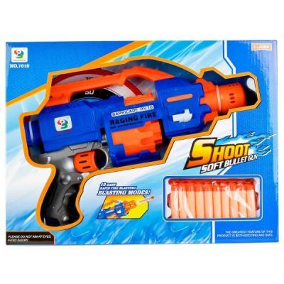 Купить Пистолет Играем вместе ПИСТОЛЕТ С МЯГКИМИ ПУЛЯМИ НА ПРИСОСКАХ 7010 синий оранжевый черный B1387409, Shantou, черный, синий, оранжевый, 27x80x8 см, для мальчика, Игрушечное оружие