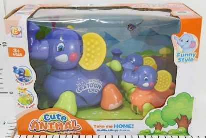 Купить Игрушка на бат. слон с 2-мя слонятами, свет+звук BY729 в кор. в кор.2*24шт, Shantou, разноцветный, пластик, унисекс, Игрушки со звуком
