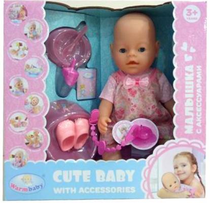 Кукла-младенец Наша Игрушка Малышка в роз.платье с аксесс. 8 предм 40 см плачущая писающая пьющая кукла младенец shantou gepai прелестная малышка y16203244 40 см писающая пьющая y16203244