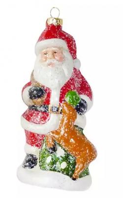 Елочные украшения Новогодняя сказка Дед Мороз 13.5 см 1 шт пластмасса, блестки