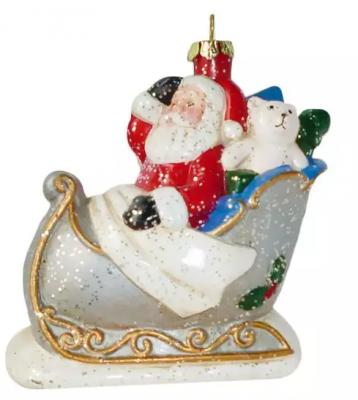 Елочные украшения Новогодняя сказка Дед Мороз в санях 10,4 см 1 шт пластик, блестки елочные украшения новогодняя сказка мишка голубой 8 5 см 4 шт пластик 97714