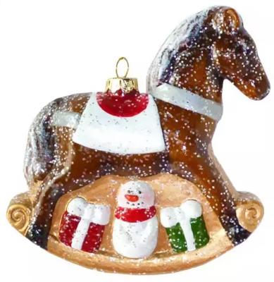Елочные украшения Новогодняя сказка Лошадка 11 см 1 шт пластик, блестки