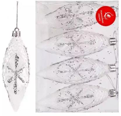 Елочные украшения Новогодняя сказка Шишки серебро 12 см 4 шт
