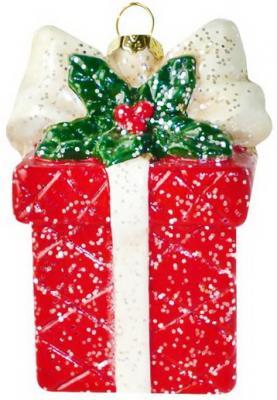 Украшение Новогодняя сказка Подарок 9.5 см 1 шт пластик 12storeez 1472016175 новогодняя брошь в подарок